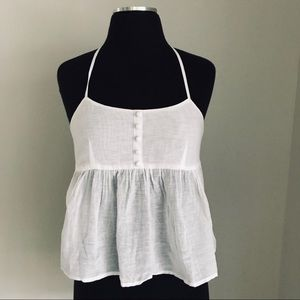 ASOS white linen t-back cropped camisole SZ.0 NWT